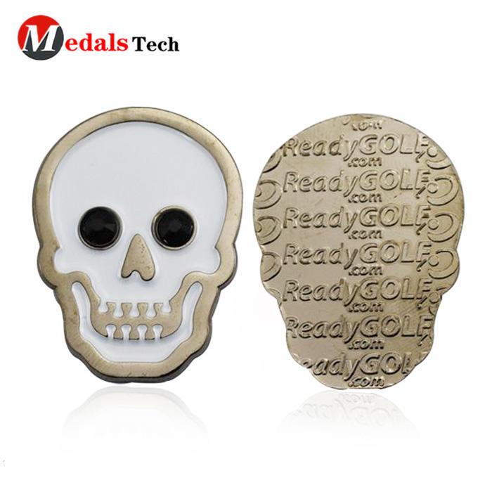 Cheap custom unique logo soft enamel metal souvenir golf ball marker