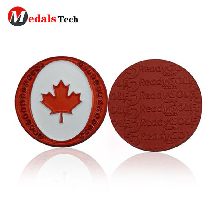 Unique custom metal crafts canada maple magnet golf ball marker