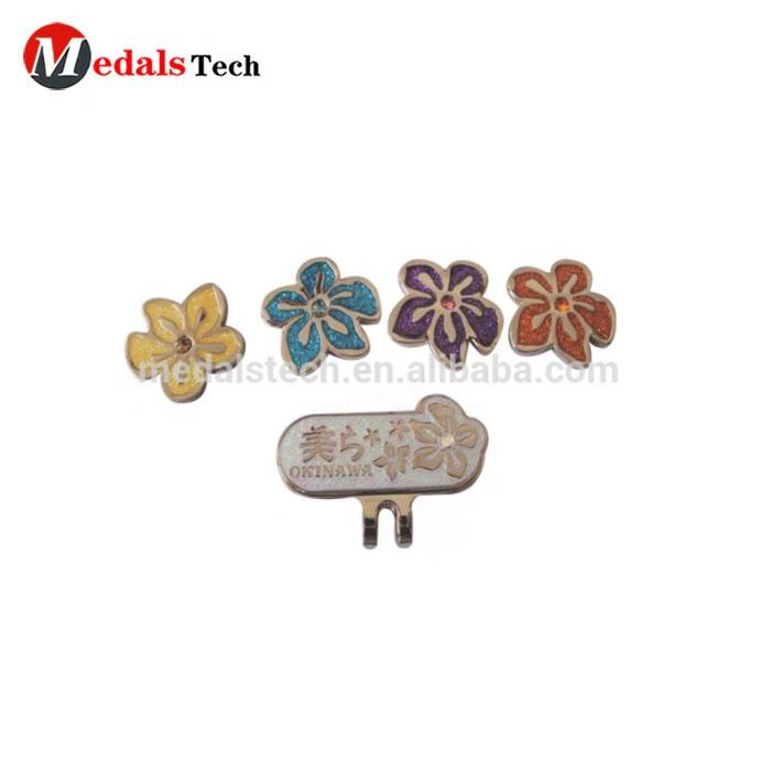 Low Price Japan style golf Hat clip ball marker flower shape magnetic golf ball marker hat clip