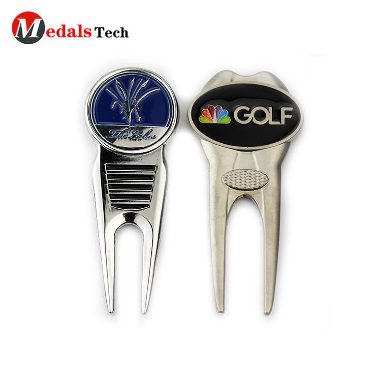 Customized silver platinggolf divot repair tool with ball marker
