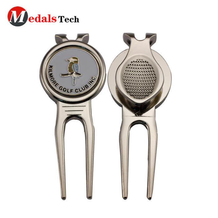 Wholesale custom golf club metal quality alloy blank golf divot tool with ball marker