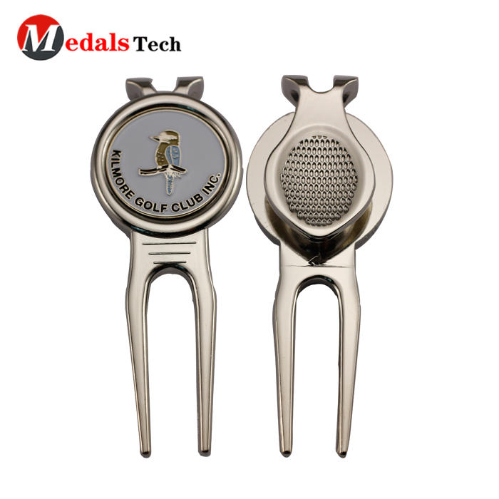 Wholesale custom golf club metal quality alloy blank golf divot tool with ball marker