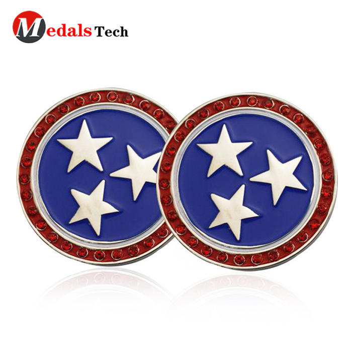 Low price custom rhinestone star logo metal golf ball marker holder