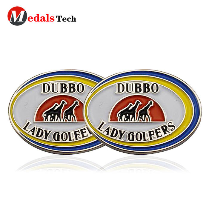 Custom cheap metal soft enamel magnetic sport golf ball markers with cap clip