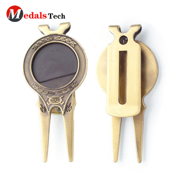 Cheap zinc alloy old gold custom metal divot repair tool with ball marker