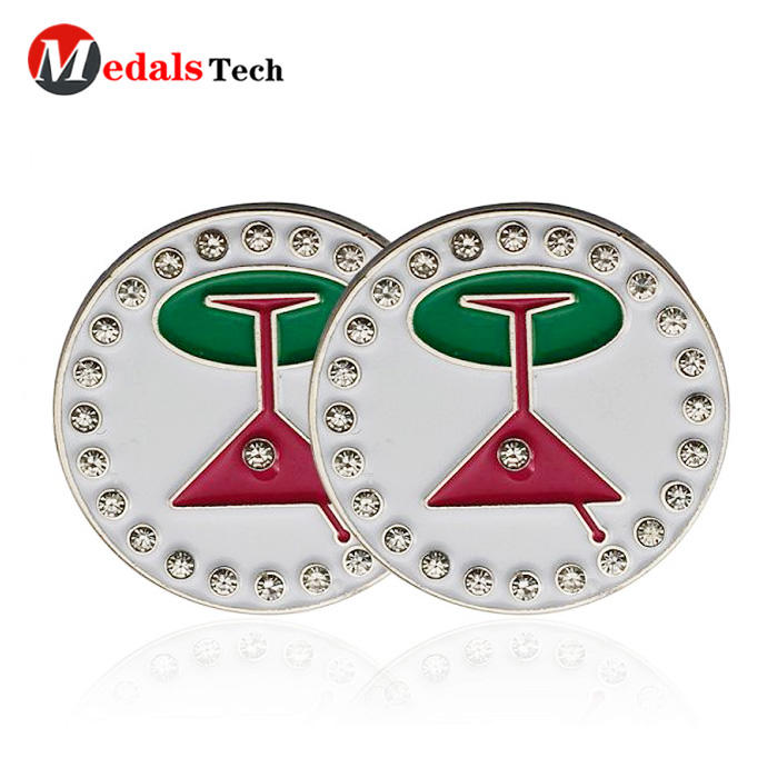 2019 cheap metal embossed logo magnetic unique golf ball marker