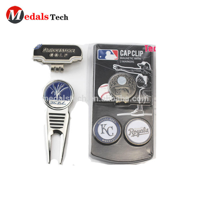 MTDT009 Wholesale Sports Hot Set Design Golf Divot Tool/Pitch Fork and Ball Marker for Golf Club