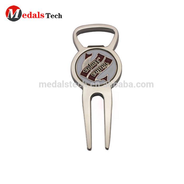 Bottle Opener shape silver custom printing engravingGolf Divot Tool for gifts