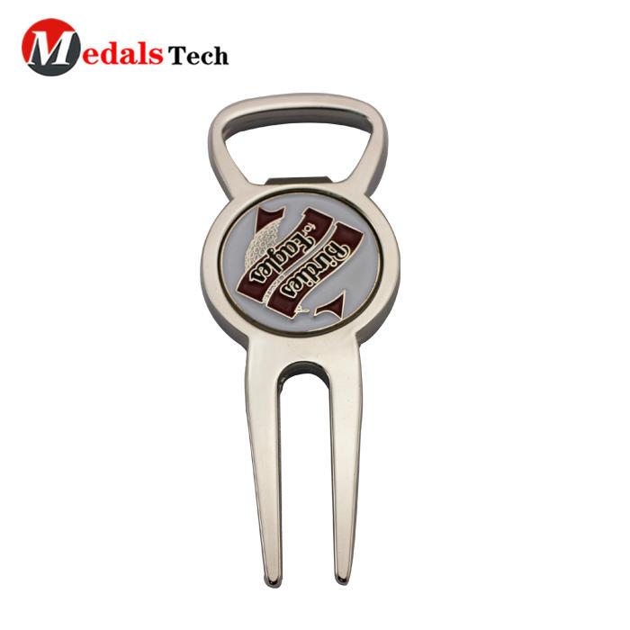 Amazon hot sale customized silver zinc alloy metal golf divot tool bottle opener