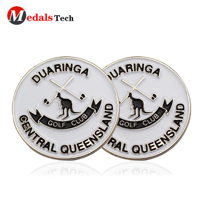 Custom cheap soft enamel metal magnetic unique club golf ball markers