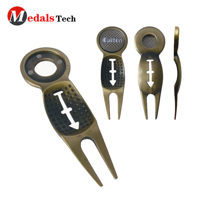 Professional custom divot repair tool antique plated metal golf divot tool