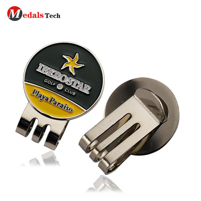 High quality soft enamelcustom metal mini golf cap clip