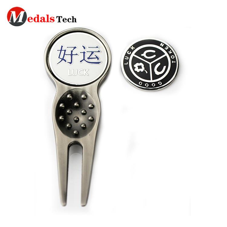 Personalized custom Logo metal golf cap clip and stainless steel divot repair tool
