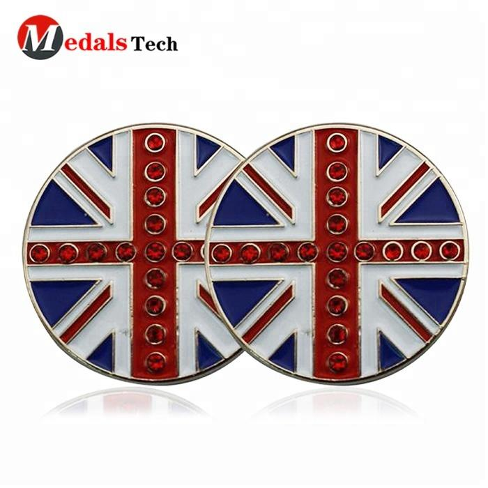 Most popular British UK flag design crystal golf ball marker with custom hat clip