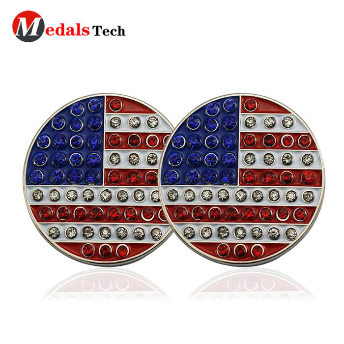 Wholesale custom good quality round embossed metal magnetic hat clip golf ball marker