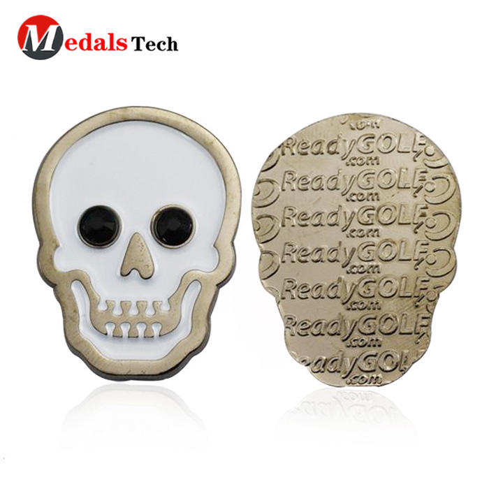 Unique customized magnetic skulls logo metal golf ball markers
