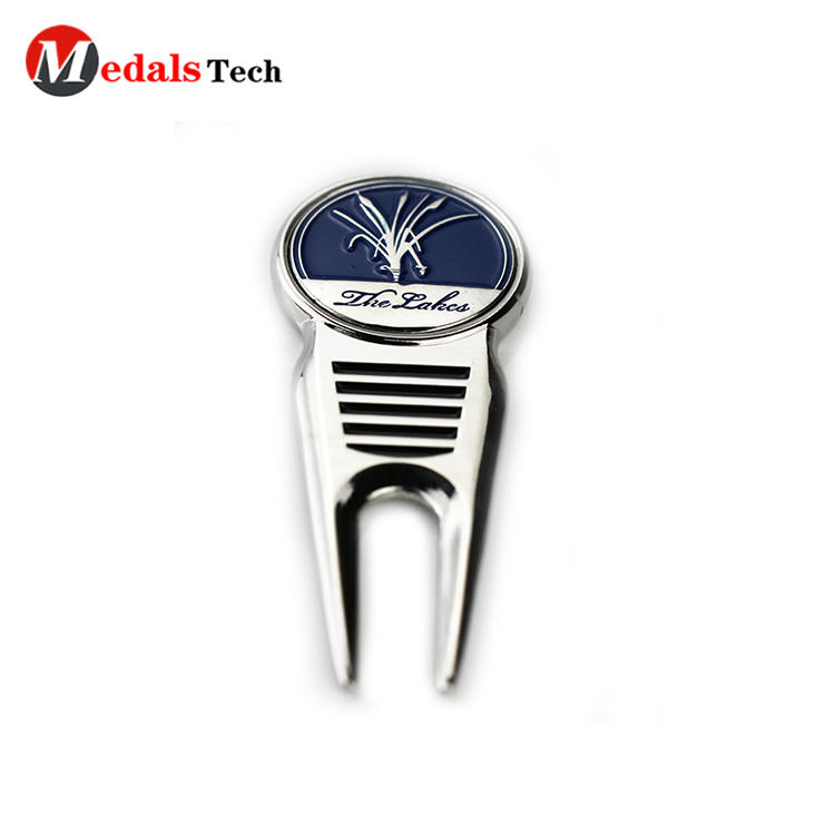 Customized silver platinggolf divot repair tool with ball marker