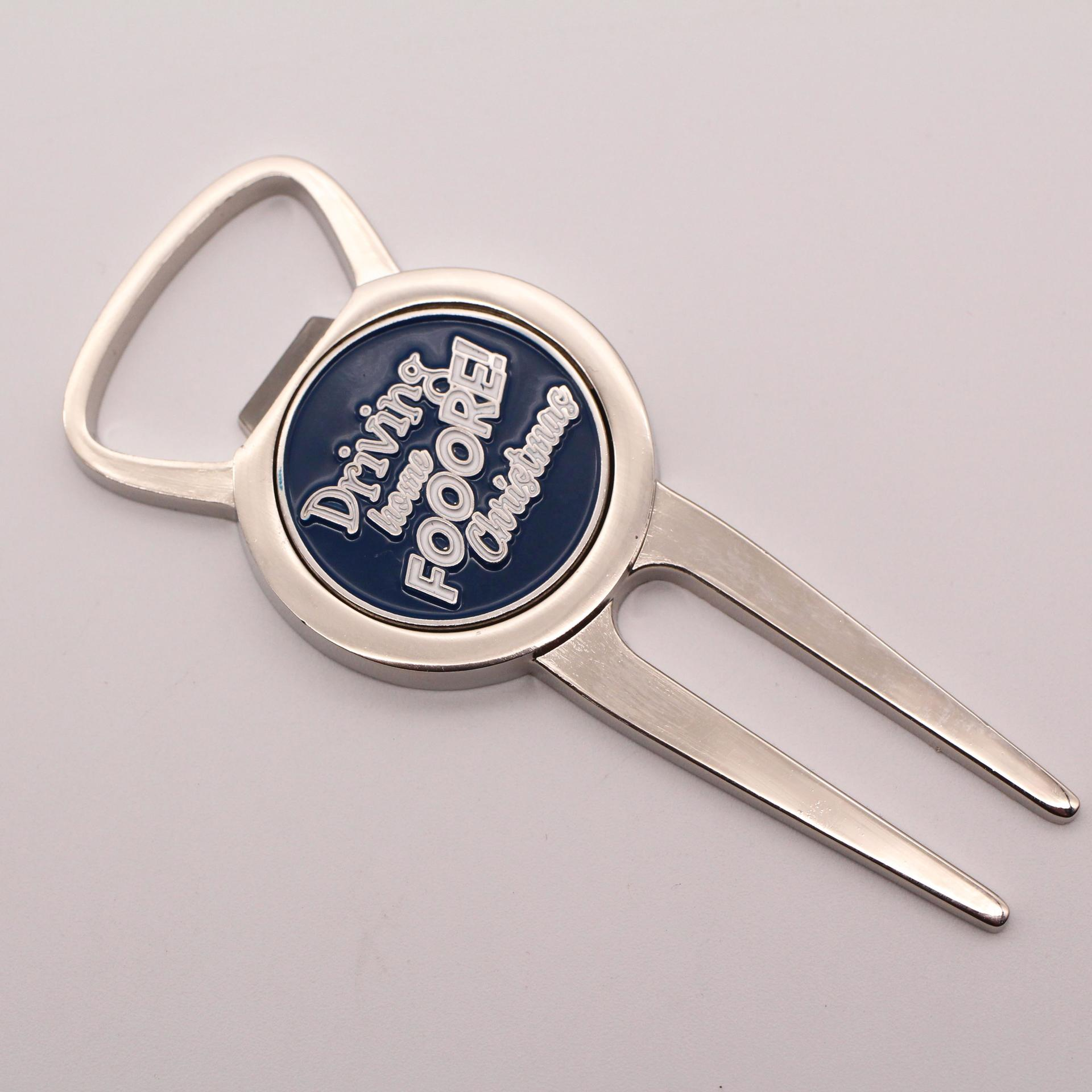 High quality promotional customized ball marker metal golf divot tool bottle opener