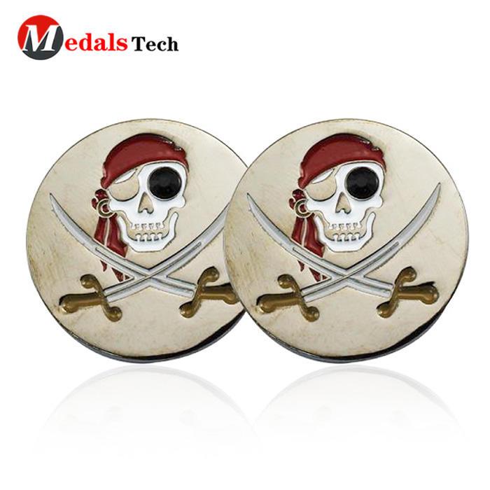 Top quality unique enamel skulls metal club golf ball marker