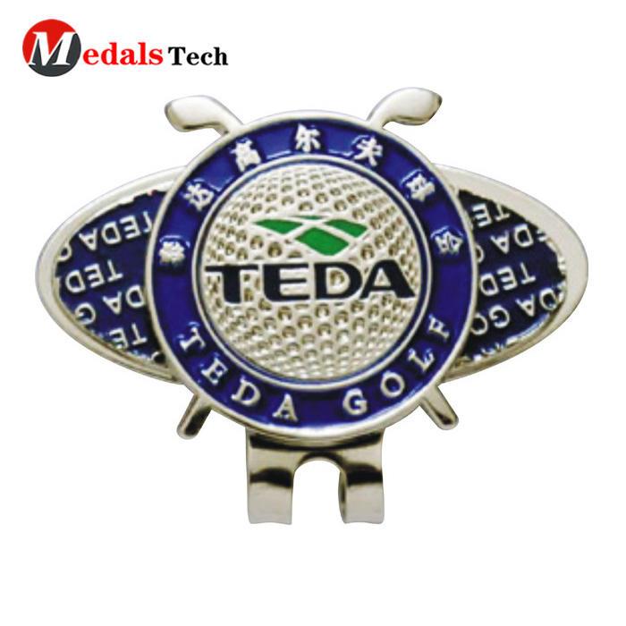 Promotional custom logo metal silver magnet pocket clubgolf cap clip