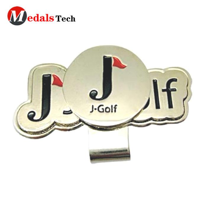 Promotional cartoon cutegold magnetic golf cap clip and ball marker set