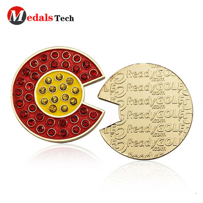Unique custom hand shape metal gift golf ball marker with rhinestone