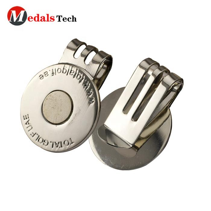 Existing mold custom metal cheap magnetic golf ball marker hat clip with your own ball marker