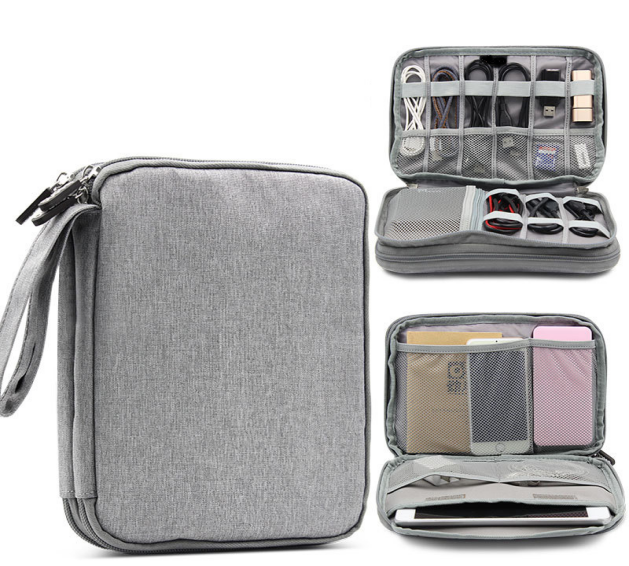 Double Layer Cable Organizer Bag Digital Storage Bags for Travel Electronic Products Accessories Case