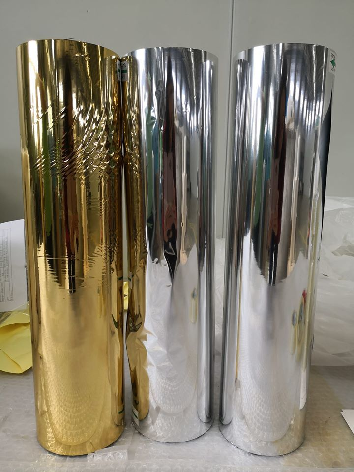 Silver pet metalized thermal lamination film coated by heating