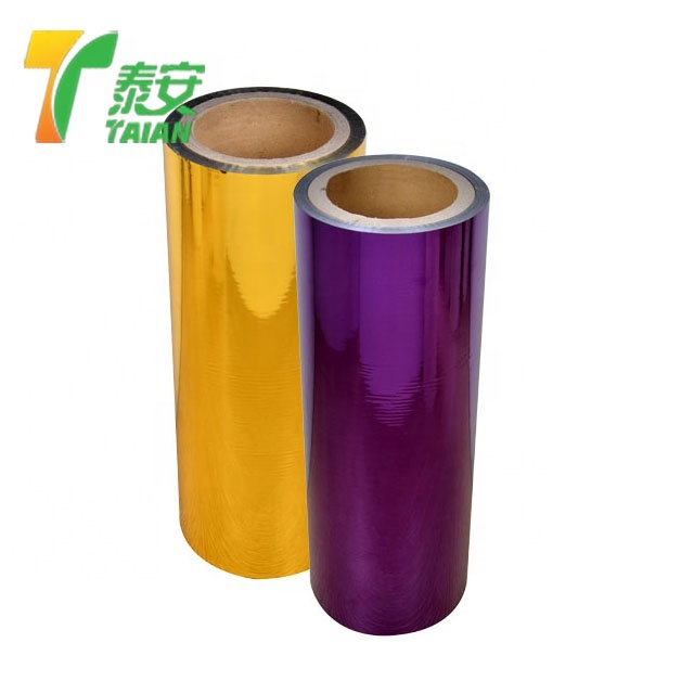 Free Sample corona treated pet gold silver film Polyester Metalized Thermal Lamination Film Roll Film