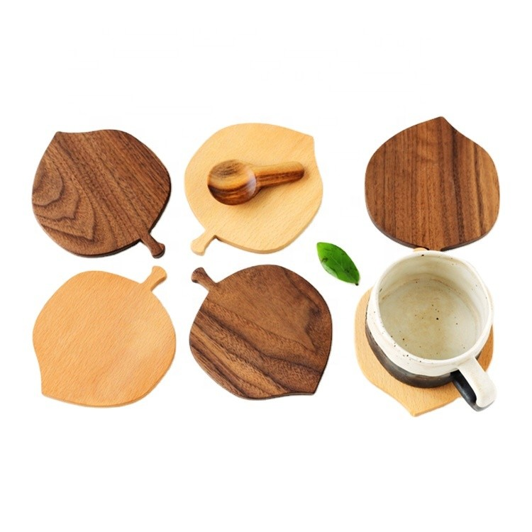 special design fashion leaf shape beech walnut wood coasters coffee tea cup drinking mats