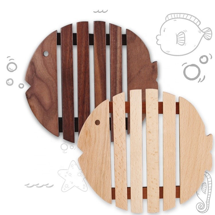 environment-friendly natural wooden fish shape black walnut bowl mat wooden pot coaster teapot place mat