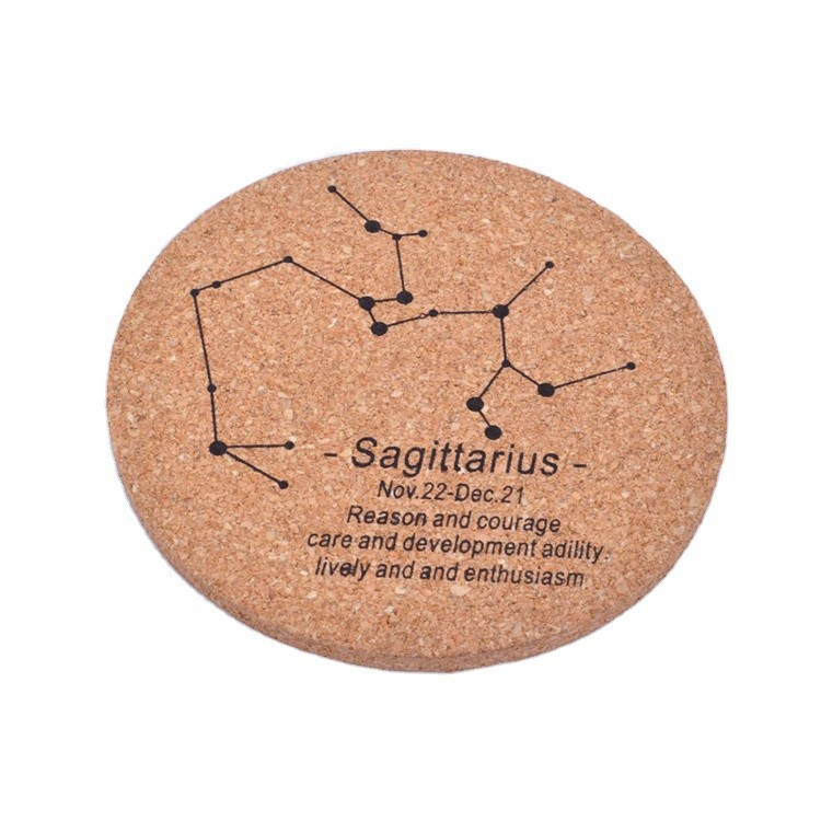 Quality custom constellation design cork wood cup coasters, MDF wooden drink cup coasters mats