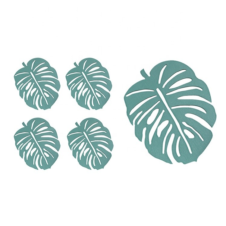 Fashion design environmental wood MDF cup coasters green leaf cactus cup mat decoration mat