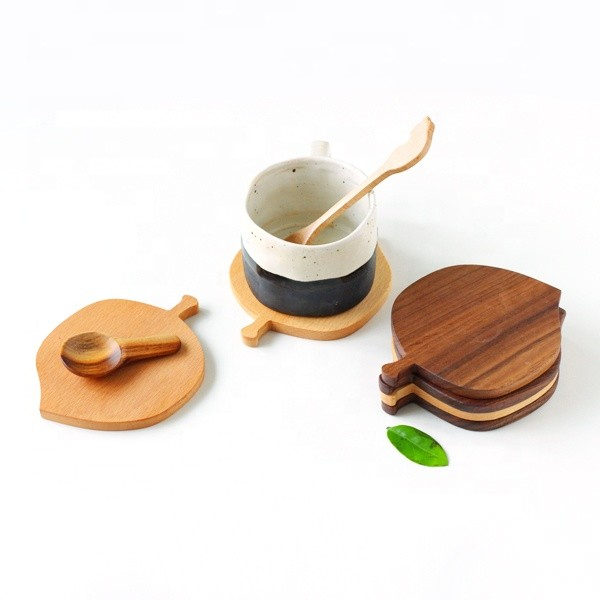 personalised custom square round eco-friendly bamboo beech walnut wood coaster 100% natural wooden drink coffee cup mat
