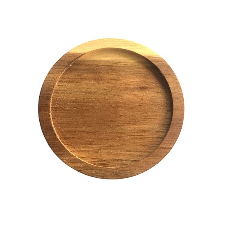 eco friendly 10cm simple 100% natural custom acacia round wooden cup holder mat