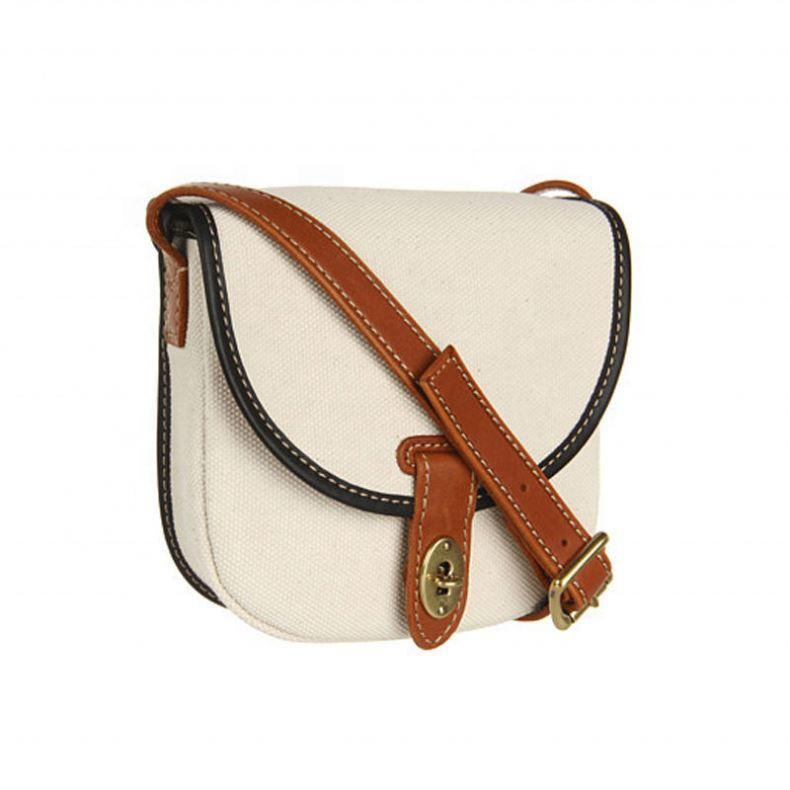 Ladies Small Fashion Canvas Crossbody Bag with Leather Trim