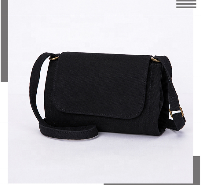 Custom Logo Mini girls Canvas Single Crossbody shoulder bag small sling satchel with outer pocket ladies messenger bags women