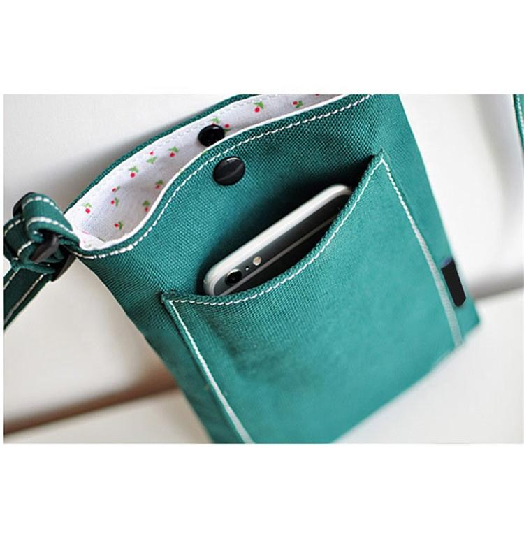 Made in china Superior quality button canvas phone shoulder bags for women mini cute girls cross body bags ladies satchel bags