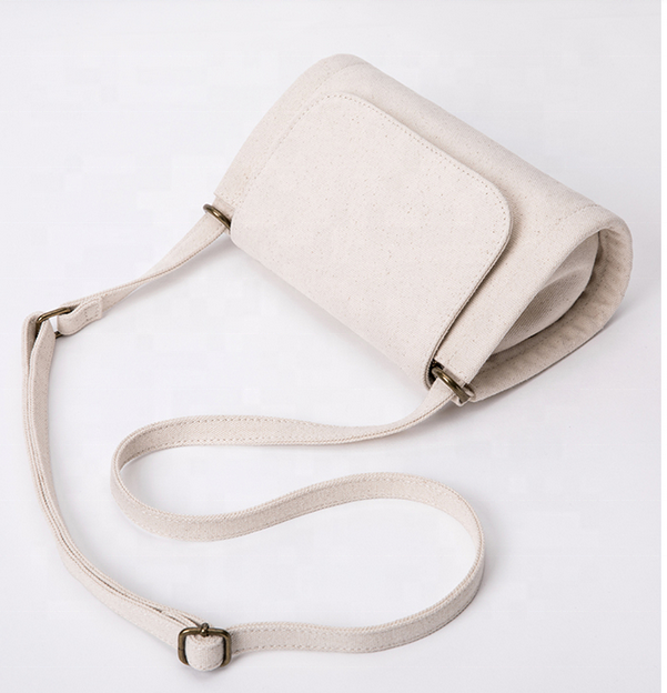 Custom Logo Mini girls Canvas Single Crossbody shoulder bag small sling satchel with outer pocket ladies messenger bags women
