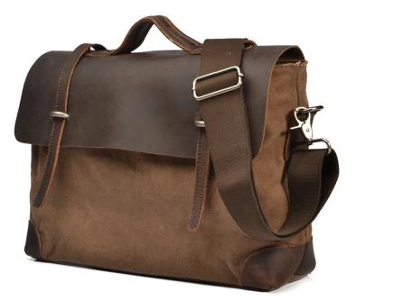 China FactoryCowhide Leather Waxed Canvas MenHandbag Travel Shoulder Bag