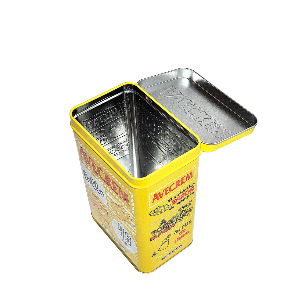 Bodenda food grade square chocolate food packing tin box with hingemetalcan for food