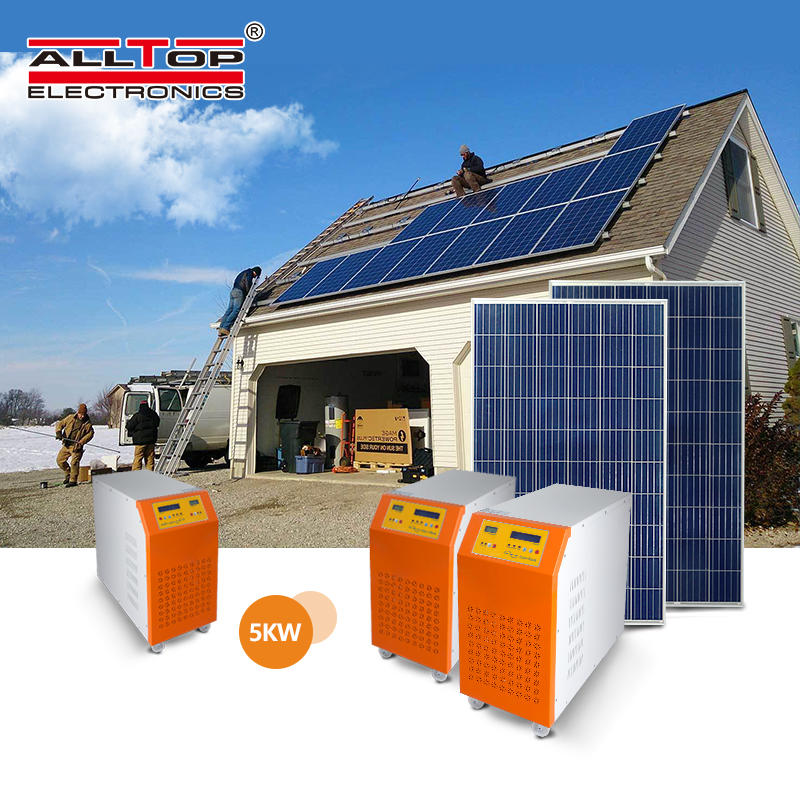 On grid 5kw solar panels generating electricity for home solar power system
