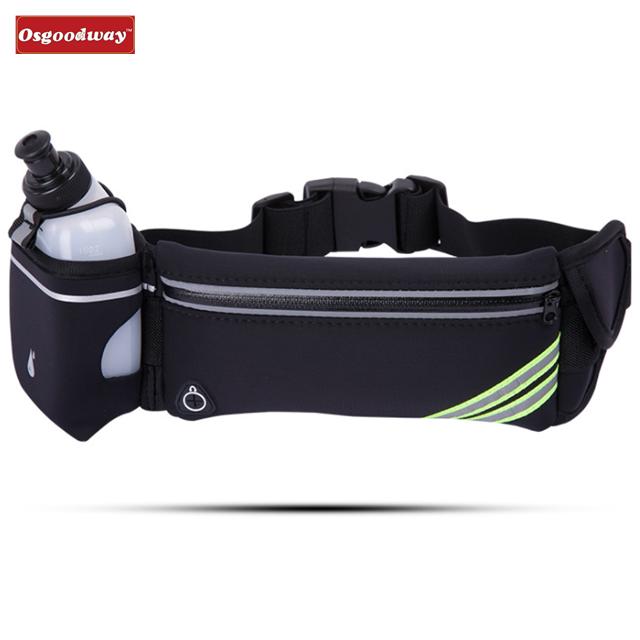 Osgoodway Waterproof Fitness Belt Lightweight Waistpack Bumbag Fanny Pack Bum Bags w Water Bottle Holder for Running