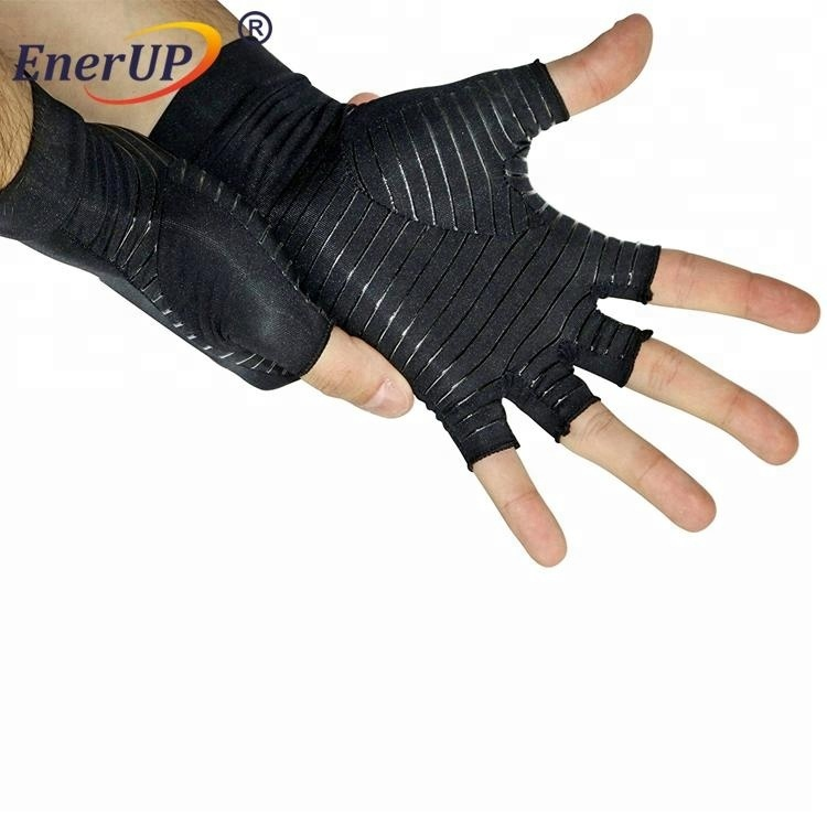 Arthritis Black Copper Hands Compression half finger Gloves