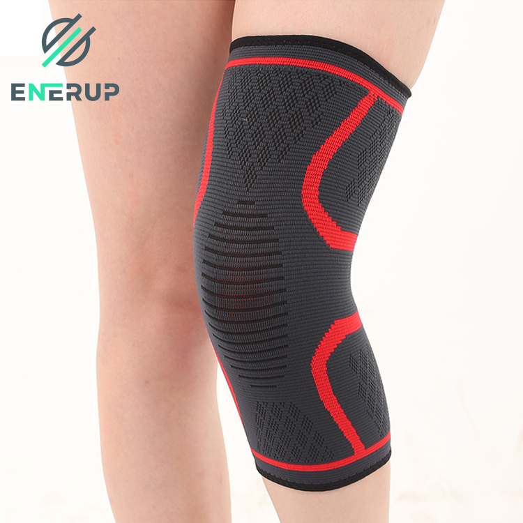Enerup Nylon Knitted Compression Orthosis Elbow & Knee Pain Relief Sleeve Custom Pads Support Brace for Running
