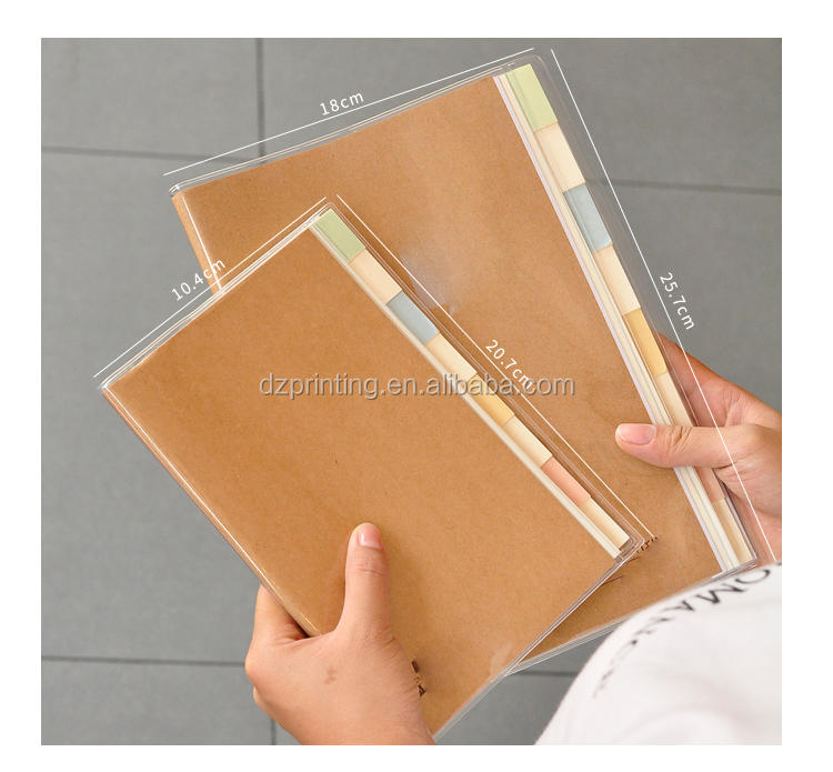 New Design Stationery Supplies Plastic Cover B5 Notebook With Colored Index Tab Divider