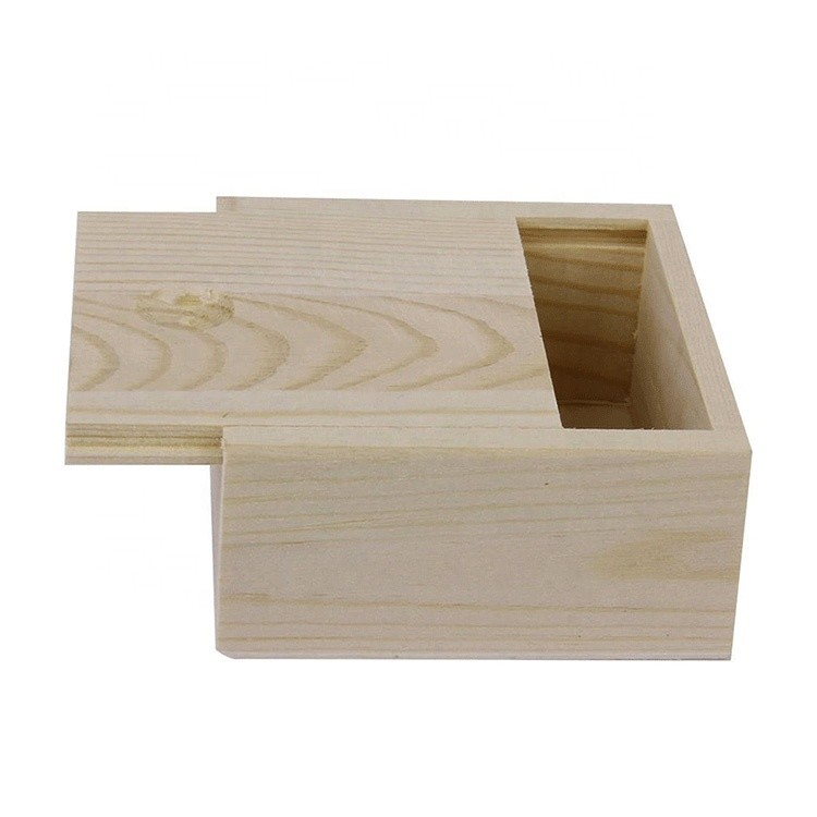 Vitalucks hot sale pine wood color customized unfinished small plain wooden box with slid lid for sale