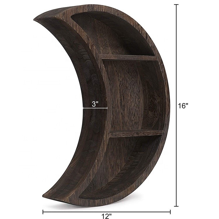 16''x12'' 3 layers moon shape wall mounted solid wood shelf hanging storage display shelves