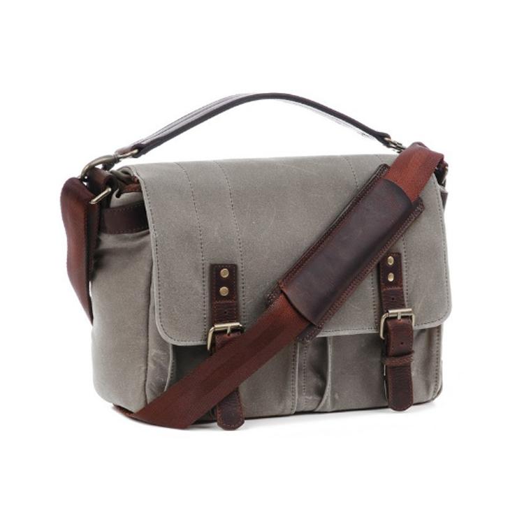 Canvas camera bag with leather trim DSLR camera bag with adjustable shoulder strap